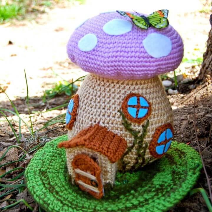 Crochet Toadstool Spring Fairy House Amigurumi - Free Pattern,spring toadstool pattern, free fairy house amigurumi, amazing fairy house crotchet pattern