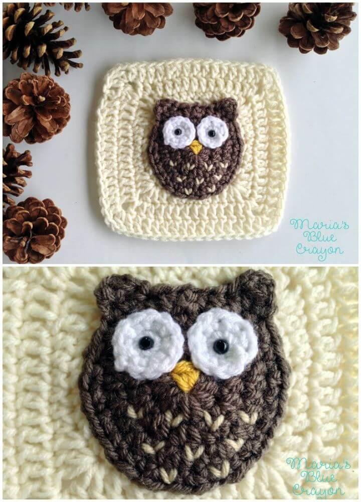 Crochet Woodland Owl Granny Square - 35 Free Crochet Owl Patterns - Crochet Amigurumi | #crochet #crochetpattern #freecrochetpattern #freepattern #crochetlove #diy #gifts #diygifts #crafts  #amigurumi #amigurumipattern #amigurumicrochet #crochetamigurumi