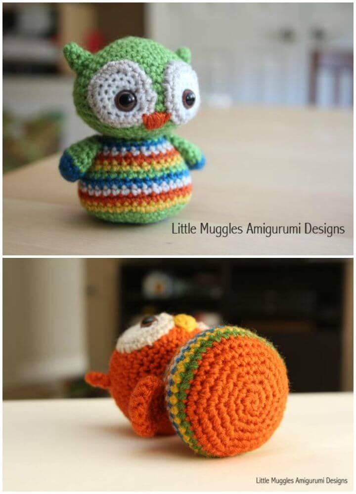 Free Crochet Baby Owl Amigurumi Pattern,baby owl crotchet,rainbow colors amigurumi, owl