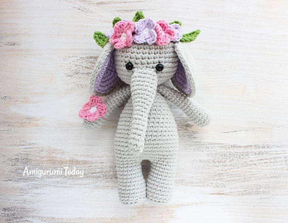Free Crochet Cuddle Me Elephant Amigurumi Pattern,flowers,present,love