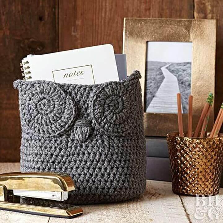 Make Owl Basket  - 35 Free Crochet Owl Patterns - Crochet Amigurumi | #crochet #crochetpattern #freecrochetpattern #freepattern #crochetlove #diy #gifts #diygifts #crafts  #amigurumi #amigurumipattern #amigurumicrochet #crochetamigurumi