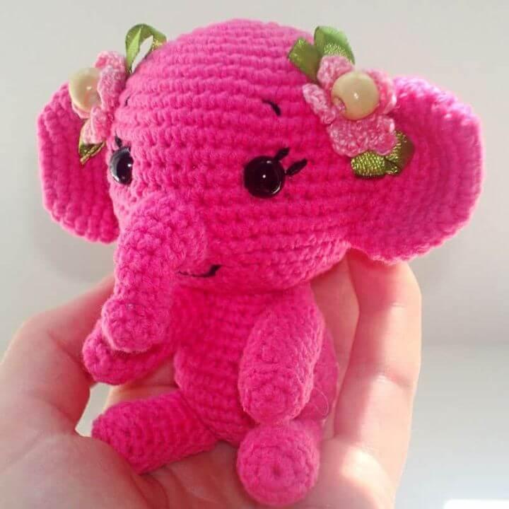 Pretty Crochet Elephant Amigurumi - Free Pattern, Elephant, Pink, Cute