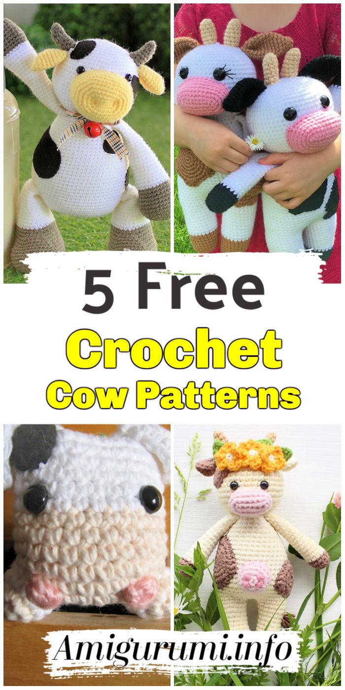 5 Crochet Cow Amigurumi Patterns Free