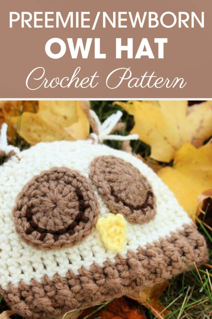 Crochet Preemie Newborn Sleepy Owl Hat - 35 Free Crochet Owl Patterns - Crochet Amigurumi | #crochet #crochetpattern #freecrochetpattern #freepattern #crochetlove #diy #gifts #diygifts #crafts  #amigurumi #amigurumipattern #amigurumicrochet #crochetamigurumi
